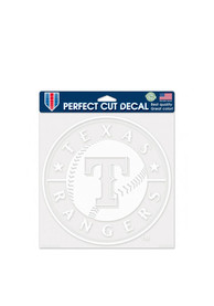 Texas Rangers 8x8 Perfect Cut white Auto Decal - Red