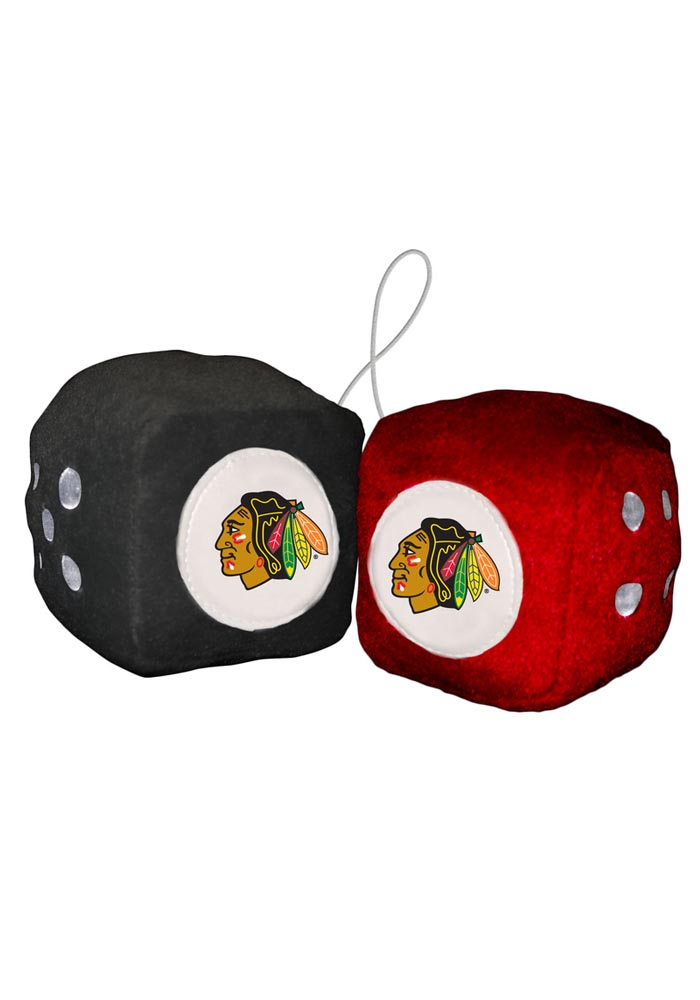 Chicago Blackhawks Team Logo Fuzzy Dice - Black - Image 1