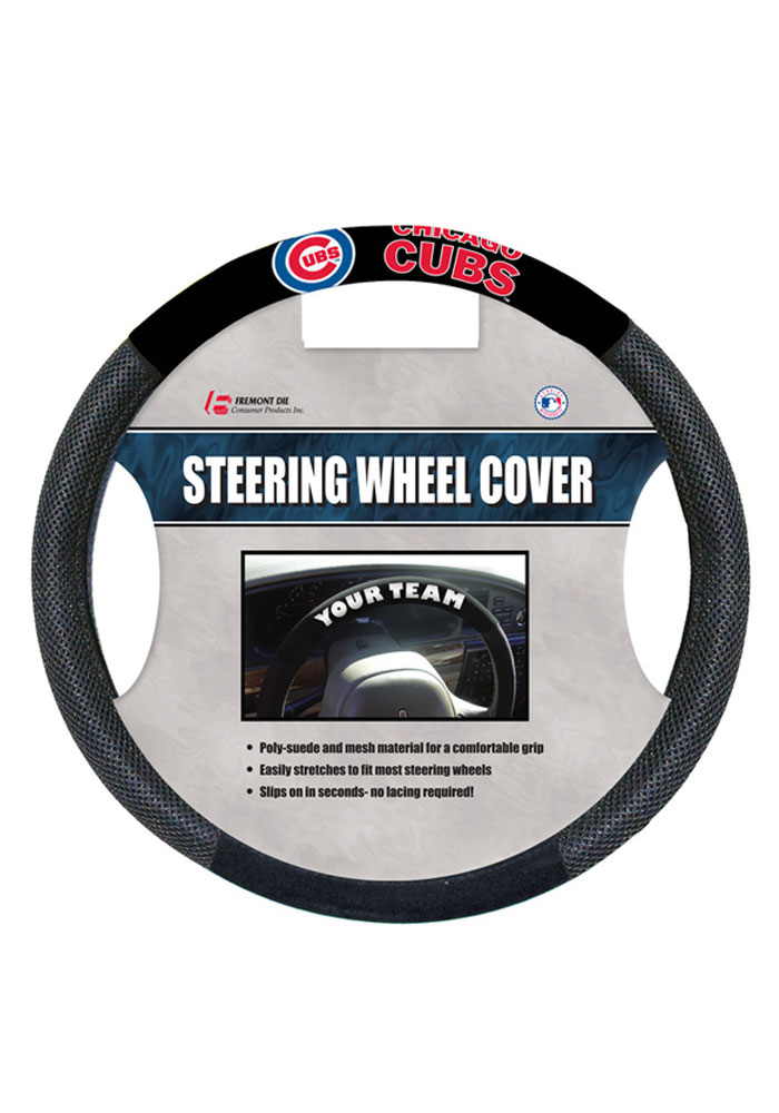 Chicago Cubs Poly-Suede Auto Steering Wheel Cover - Image 1
