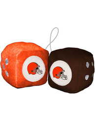 Cleveland Browns Team Logo Fuzzy Dice - Orange