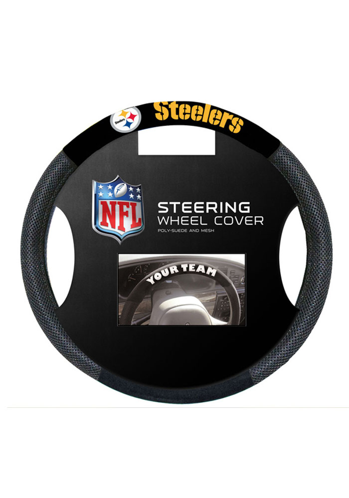 Pittsburgh Steelers Poly-Suede Auto Steering Wheel Cover - Image 1