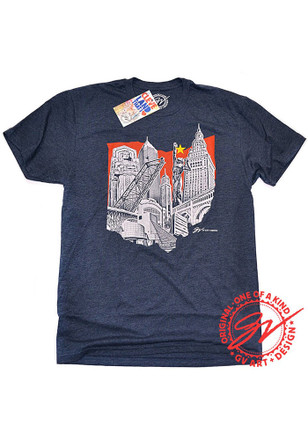 Mens Navy Blue Ohio Landmarks Fashion Tee