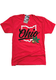 GV Art + Design Ohio Red State Shape Wordmark Short Sleeve T-Shirt