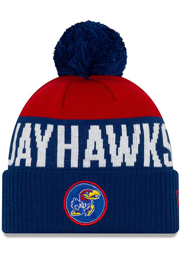 New Era Kansas Jayhawks Blue Patch Cuff Pom Knit Hat