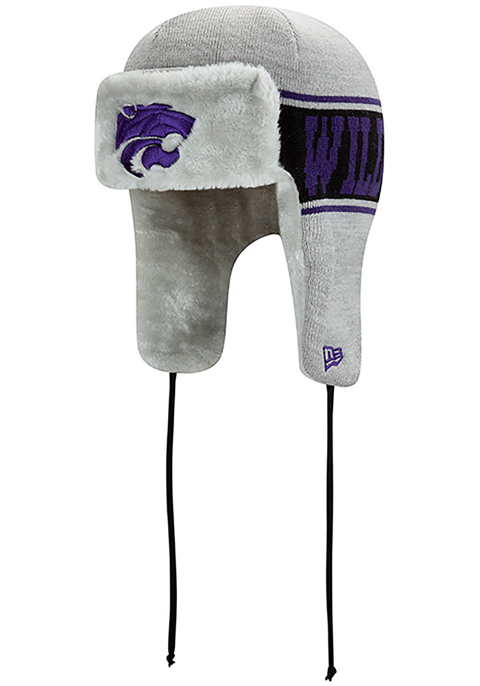 New Era K-State Wildcats Grey Trapper Mens Knit Hat - Image 1