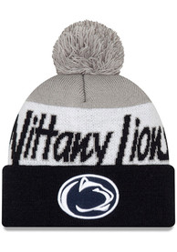 New Era Penn State Nittany Lions Navy Blue JR Script Cuff Pom Youth Knit Hat