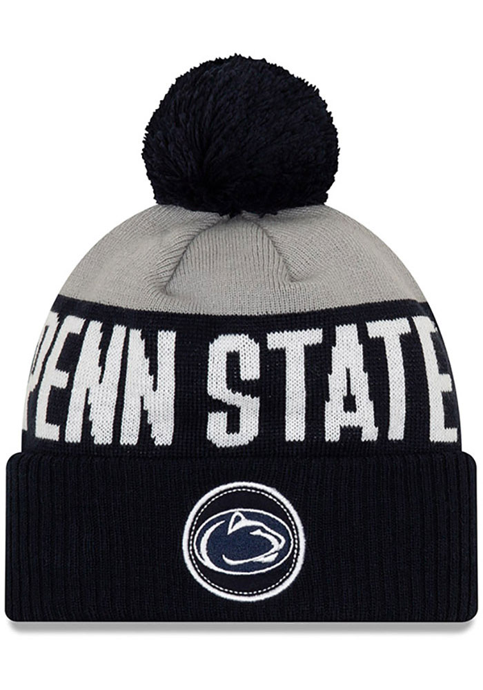 New Era Penn State Nittany Lions Navy Blue Patch Cuff Pom Mens Knit Hat - Image 1