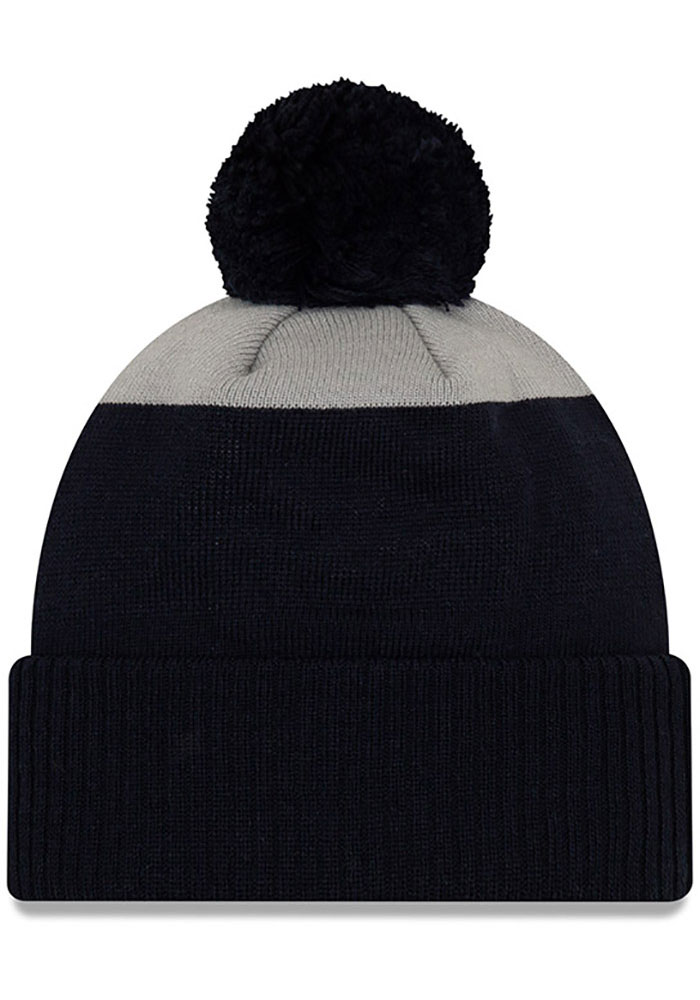New Era Penn State Nittany Lions Navy Blue Patch Cuff Pom Mens Knit Hat - Image 2