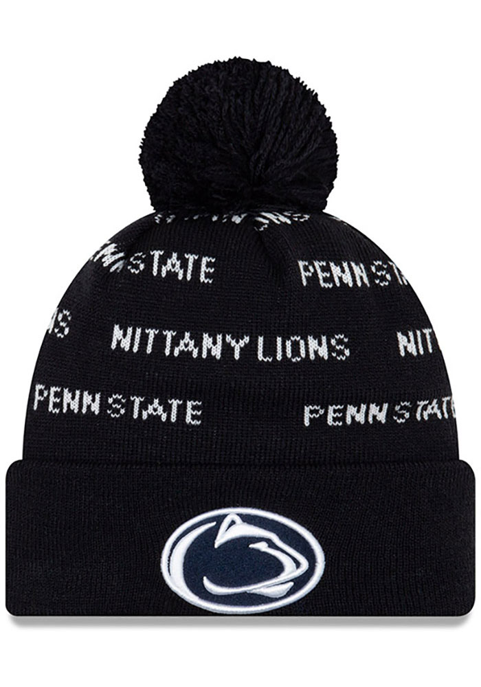 New Era Penn State Nittany Lions Navy Blue Repeat Cuff Pom Mens Knit Hat - Image 1