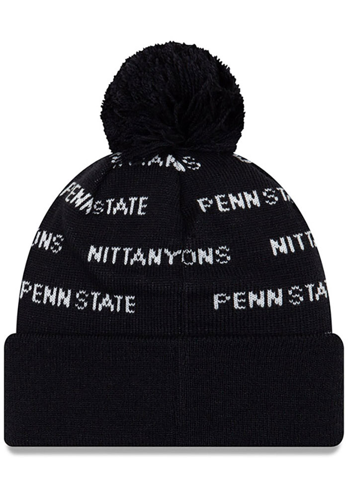 New Era Penn State Nittany Lions Navy Blue Repeat Cuff Pom Mens Knit Hat - Image 2