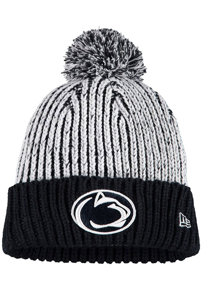 New Era Penn State Nittany Lions Navy Blue Sporty Cuff Pom Womens Knit Hat - Image 1
