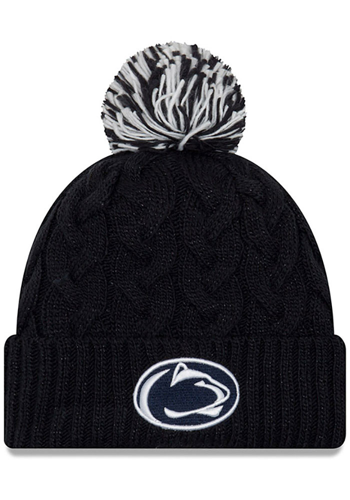 New Era Penn State Nittany Lions Navy Blue Cozy Cable Cuff Pom Womens Knit Hat - Image 1