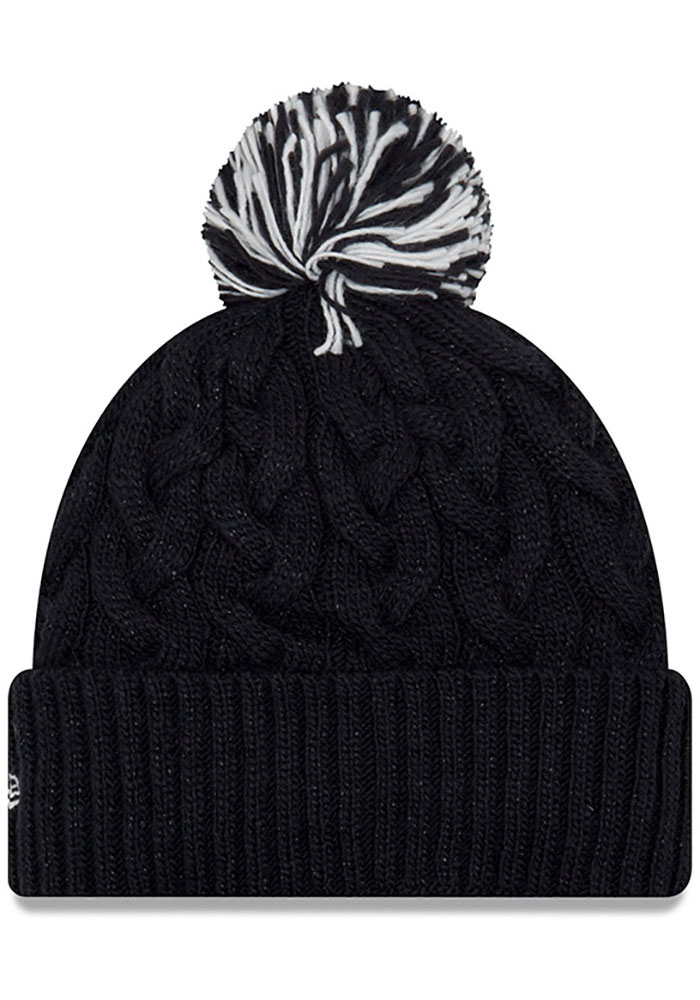 New Era Penn State Nittany Lions Navy Blue Cozy Cable Cuff Pom Womens Knit Hat - Image 2