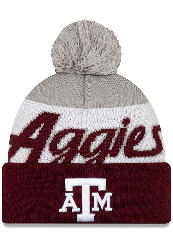 New Era Texas A&M Aggies Maroon Script Cuff Pom Knit Hat