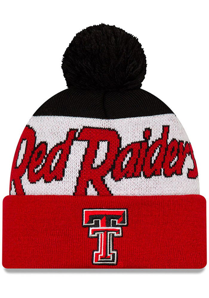 New Era Texas Tech Red Raiders Red Script Cuff Pom Mens Knit Hat - Image 1