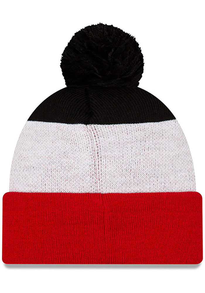 New Era Texas Tech Red Raiders Red Script Cuff Pom Mens Knit Hat - Image 2