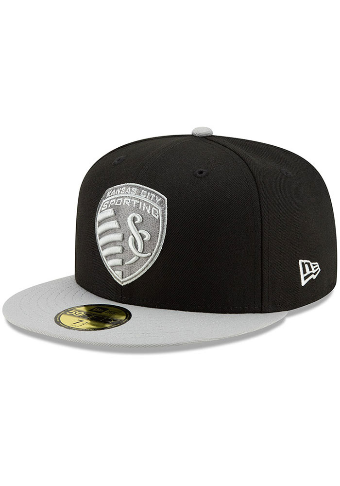 New Era Sporting Kansas City Mens Black Away Jersey Hook 59FIFTY Fitted Hat - Image 1