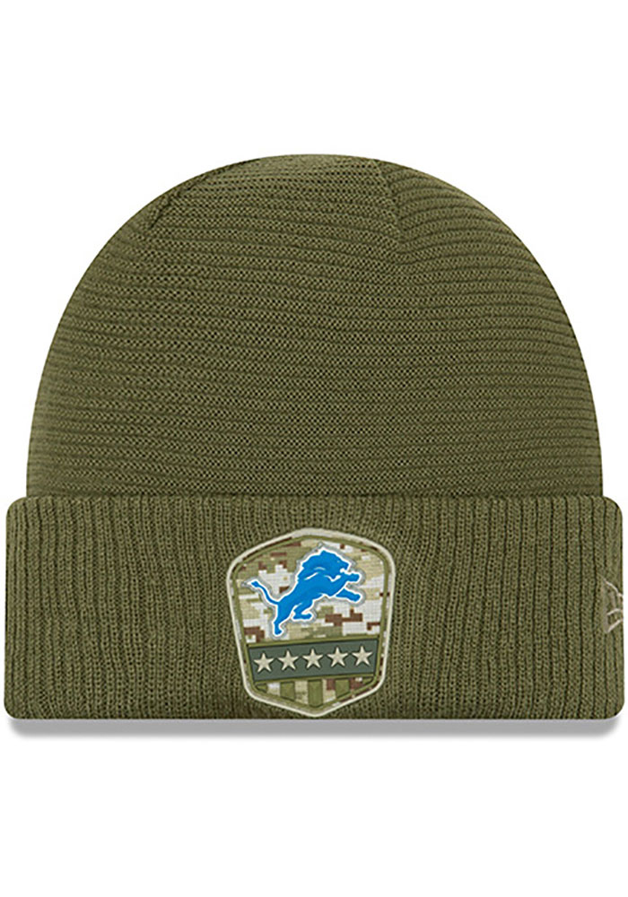 New Era Detroit Lions Olive 2019 Salute to Service Cuff Mens Knit Hat - Image 1