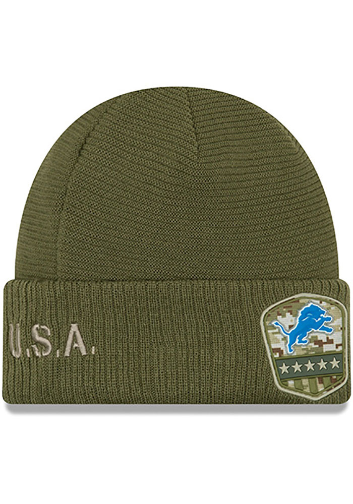 New Era Detroit Lions Olive 2019 Salute to Service Cuff Mens Knit Hat - Image 2