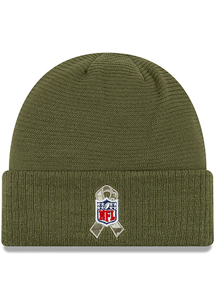 New Era Detroit Lions Olive 2019 Salute to Service Cuff Mens Knit Hat - Image 3
