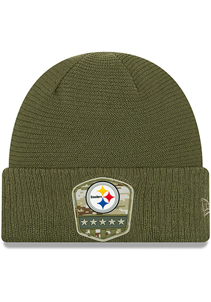 Pittsburgh Steelers New Era 2019 Salute to Service Cuff Knit - Olive