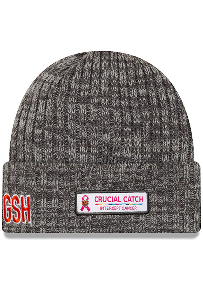 New Era Chicago Bears Grey 2019 Crucial Catch Cuff Mens Knit Hat - Image 2