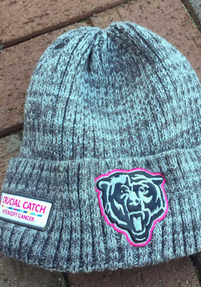 New Era Chicago Bears Grey 2019 Crucial Catch Cuff Mens Knit Hat - Image 4