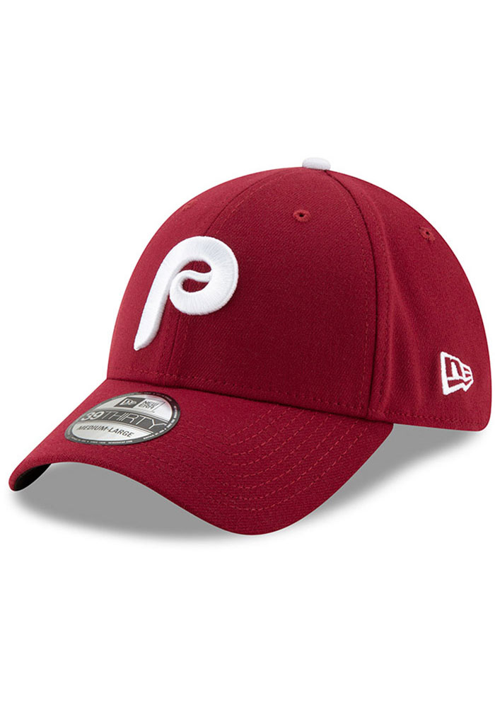 New Era Philadelphia Phillies Mens Maroon Team Classic 39THIRTY Flex Hat - Image 1