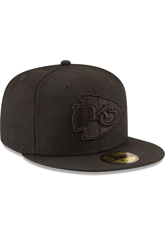 New Era Kansas City Chiefs Mens Black On Black Basic 59FIFTY Fitted Hat - Image 2