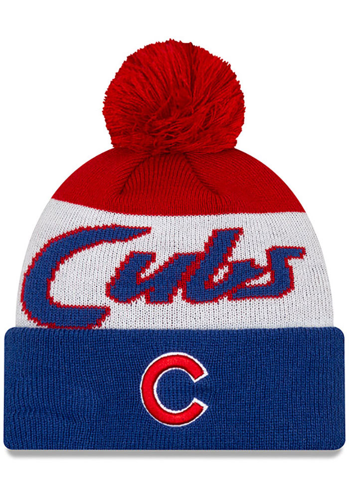 New Era Chicago Cubs Blue Script Cuff Pom Mens Knit Hat - Image 1