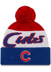 Chicago Cubs New Era Script Cuff Pom Knit - Blue