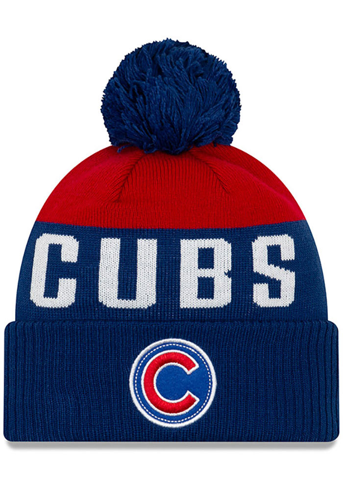 New Era Chicago Cubs Blue Patch Cuff Pom Mens Knit Hat - Image 1