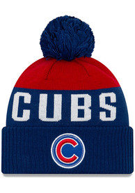 Chicago Cubs New Era Patch Cuff Pom Knit - Blue