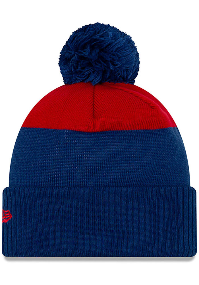 New Era Chicago Cubs Blue Patch Cuff Pom Mens Knit Hat - Image 2