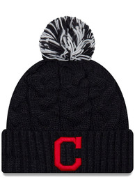Cleveland Indians Womens New Era Cozy Cable Knit - Navy Blue