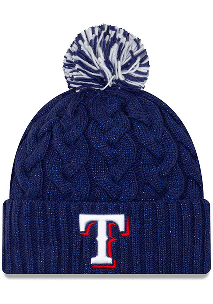 New Era Texas Rangers Blue Cozy Cable Womens Knit Hat - Image 1