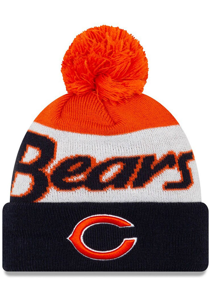 New Era Chicago Bears Navy Blue JR Script Cuff Pom Youth Knit Hat - Image 1