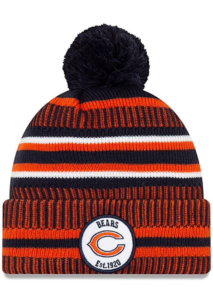 New Era Chicago Bears Navy Blue 2019 Official Home Sport Mens Knit Hat - Image 1
