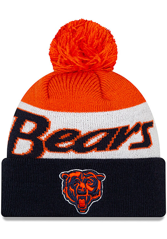 Chicago Bears New Era Historic Script Cuff Pom Knit - Navy Blue
