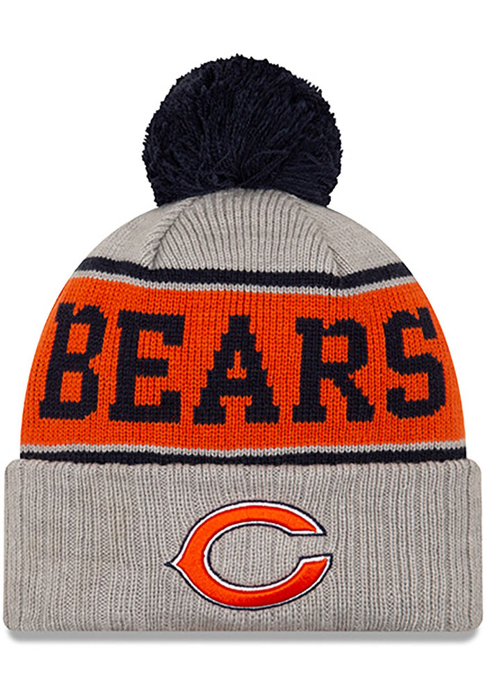 Chicago Bears New Era Stripe Cuff Pom Knit - Grey