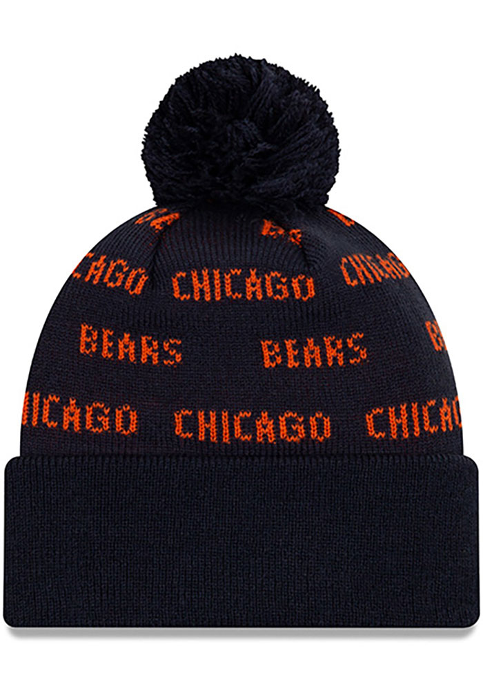 New Era Chicago Bears Navy Blue Repeat Cuff Pom Mens Knit Hat - Image 2