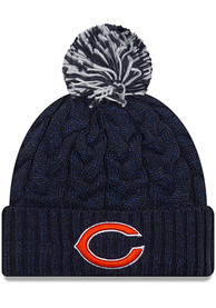 Chicago Bears Womens New Era Cozy Cable Knit - Navy Blue