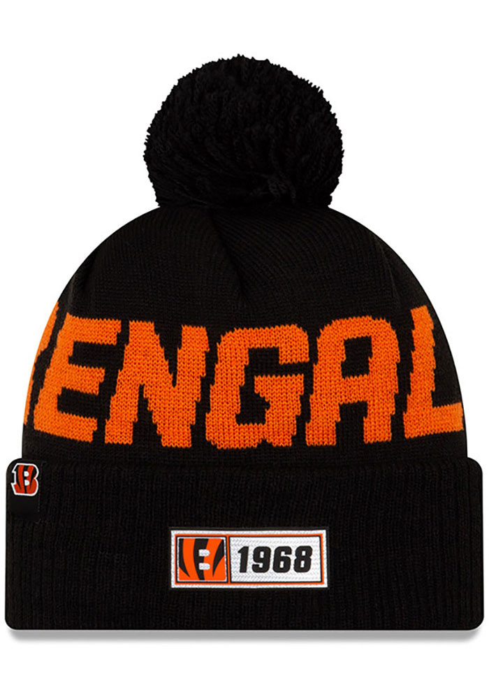 New Era Cincinnati Bengals Black 2019 Official Road Sport Knit Hat