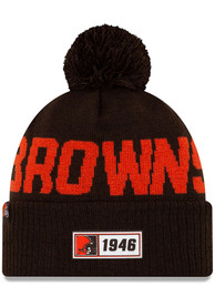 New Era Cleveland Browns Brown 2019 Official Road Sport Knit Hat