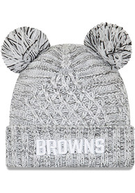 Cleveland Browns Womens New Era Pom Duel Knit - White