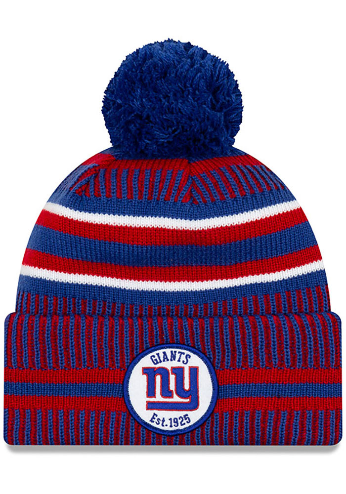 New Era New York Giants Blue 2019 Official Home Sport Mens Knit Hat - Image 1