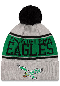 sale retailer 9163a 91eb0 New Era Philadelphia Eagles Grey Historic Stripe Cuff Pom Knit Hat