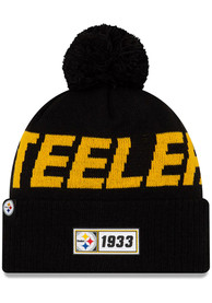 New Era Pittsburgh Steelers Black 2019 Official JR Road Sport Youth Knit Hat