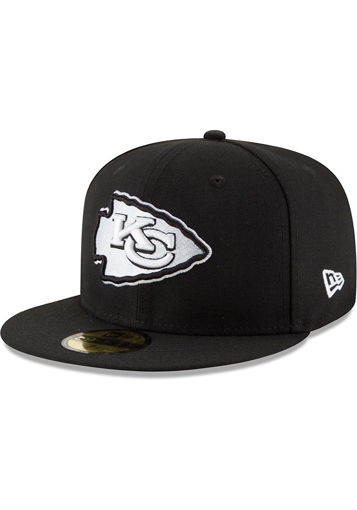 New Era Kansas City Chiefs Mens Black White 59FIFTY Fitted Hat - Image 1