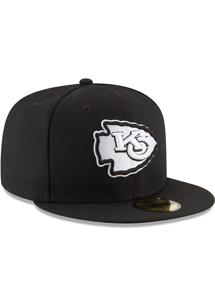 New Era Kansas City Chiefs Mens Black White 59FIFTY Fitted Hat - Image 2